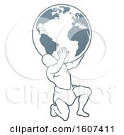 Clipart Of Atlas Titan Carrying A Globe Royalty Free Vector Illustration