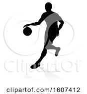 Clipart Of A Silhouetted Basketball Player Dribbling With A Reflection Or Shadow On A White Background Royalty Free Vector Illustration