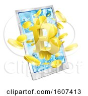 3d Gold Bitcoin Currency Symbol Bursting From A Smart Phone Screen