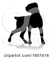 Clipart Of A Silhouetted Labrador Dog With A Reflection Or Shadow On A White Background Royalty Free Vector Illustration