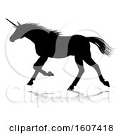 Clipart Of A Black Silhouetted Unicorn Horse With A Reflection Or Shadow On A White Background Royalty Free Vector Illustration