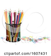 Clipart Of A 3d Cup With Colored Pencils And Paper Clips Royalty Free Vector Illustration