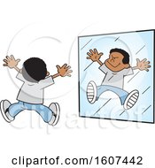 Poster, Art Print Of Cartoon Black Boy Acting Like A Monster In A Mirror