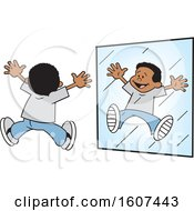 Cartoon Happy White Black Jumping In A Mirror