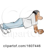 Clipart Of A Cartoon Black Man Doing Push Ups Royalty Free Vector Illustration