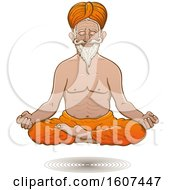 Clipart Of A Floating Truly Hyperconnected Indian Guru Man Meditating Royalty Free Vector Illustration