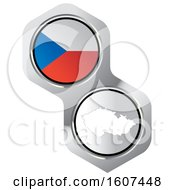 Clipart Of A Czech Republic Flag Button And Map Royalty Free Vector Illustration by Lal Perera