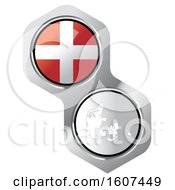Poster, Art Print Of Danish Flag Button And Map