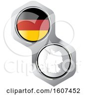 Clipart Of A German Flag Button And Map Royalty Free Vector Illustration by Lal Perera