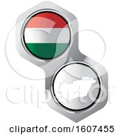 Poster, Art Print Of Hungary Flag Button And Map