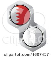 Clipart Of A Bahrain Flag Button And Map Royalty Free Vector Illustration by Lal Perera