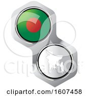 Clipart Of A Bangladeshi Flag Button And Map Royalty Free Vector Illustration by Lal Perera