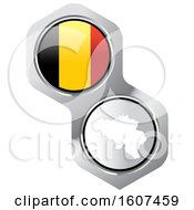 Poster, Art Print Of Belgian Flag Button And Map