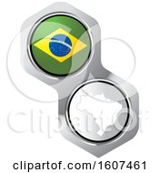 Poster, Art Print Of Brazilian Flag Button And Map