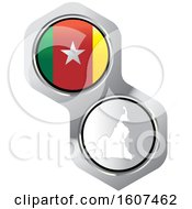 Cameroonian Flag Button And Map