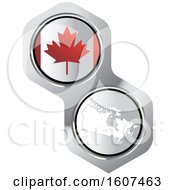 Canadian Flag Button And Map