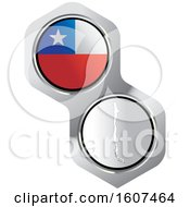 Poster, Art Print Of Chilean Flag Button And Map