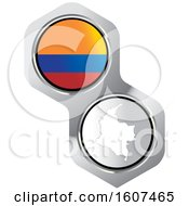 Poster, Art Print Of Colombian Flag Button And Map
