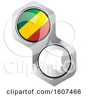Congolese Flag Button And Map