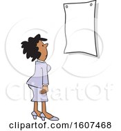 Clipart Of A Cartoon Black Woman Looking At A Sign Royalty Free Vector Illustration