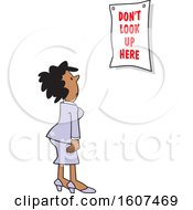 Clipart Of A Cartoon Black Woman Looking At A Dont Look Up Here Sign Royalty Free Vector Illustration