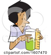 Clipart Of A Cartoon Black Woman Measuring A Container That Is Half Full Or Half Empty Royalty Free Vector Illustration