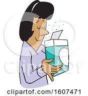 Clipart Of A Cartoon Black Woman Smelling A Pleasant Aroma From A Boxed Product Royalty Free Vector Illustration