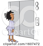 Clipart Of A Cartoon Black Business Woman Waiting For An Elevator Royalty Free Vector Illustration