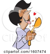 Clipart Of A Cartoon Black Woman Licking Chocolate Batter From A Spoon Royalty Free Vector Illustration by Johnny Sajem