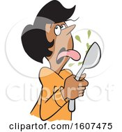 Clipart Of A Cartoon Black Woman Licking Something Bad From A Spoon Royalty Free Vector Illustration