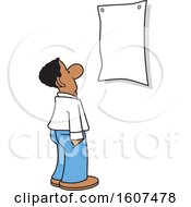 Cartoon Black Business Man Looking At A Blank Sign