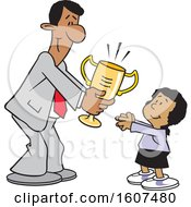 Clipart Of A Cartoon Black Business Man Giving A Girl A Trophy Royalty Free Vector Illustration