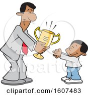 Clipart Of A Cartoon Black Business Man Giving A Boy A Trophy Royalty Free Vector Illustration