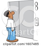 Clipart Of A Cartoon Black Business Man Waiting For An Elevator Royalty Free Vector Illustration