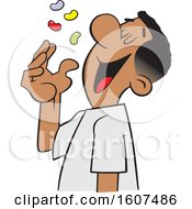 Clipart Of A Cartoon Black Man Tossing Jelly Beans Into His Mouth Royalty Free Vector Illustration