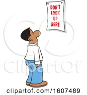 Cartoon Black Business Man Looking At A Dont Look Up Here Sign