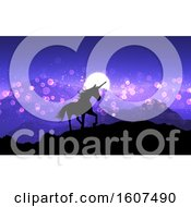Clipart Of A 3D Render Of A Fantasy Unicorn On A Mountain Landscape With Purple Sunset Sky Royalty Free Illustration