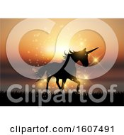 Clipart Of A Silhouette Of A Unicorn In A Sunset Landscape Royalty Free Vector Illustration