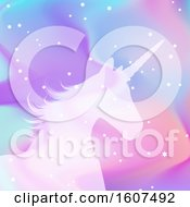 Clipart Of A Silhouette Of A Unicorn On A Holographic Style Background Royalty Free Vector Illustration