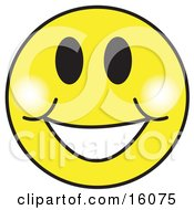 Happy Yellow Smiley Face Graphic With A Big Smile