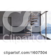 Clipart Of A 3d Interior With A Spiral Staircase Royalty Free Illustration