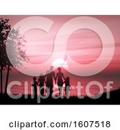 Clipart Of A 3D Render Of A Silhouette Of A Family Against A Sunset Ocean Royalty Free Illustration by KJ Pargeter