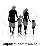 Silhouetted Family Holding Hands With A Reflection On A White Background
