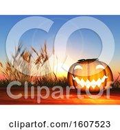 3D Render Of A Halloween Pumpkin On A Wooden Table Against A Sunset Sky