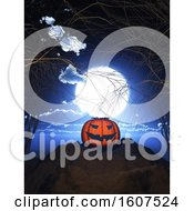3D Render Of A Pumpkin Against A Spooky Halloween Landscape