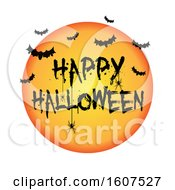 Happy Halloween Greeting With Bats And A Spider On White