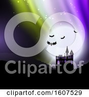 Clipart Of A Halloween Background With Spooky House Against Sky With Northern Lights Royalty Free Vector Illustration