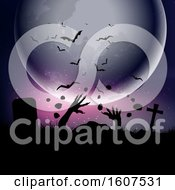 Clipart Of A Halloween Background With Zombie Hands Erupting Out Of The Ground Against A Moonlit Sky Royalty Free Vector Illustration