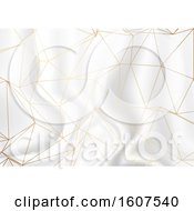 Clipart Of A Gold Low Poly Design On A Silver Marble Texture Background Royalty Free Vector Illustration