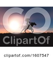 Clipart Of A 3D Render Of A Female Riding Her Horse In A Sunset Landscape Royalty Free Illustration